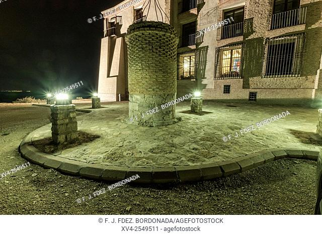 Nuestra Señora de Magallón Chapel by night, Leciñena, Zaragoza, Aragon, Spain