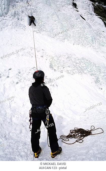 Canada - Quebec - Quebec city - The Montmorency waterfall - Ice climbing