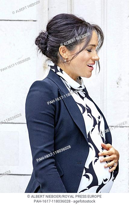 Meghan, Duchess of Sussex leaves at the King's College London in London, on March 8, 2019, after attending a panel discussion convened by The Queen's...