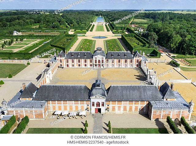France, Eure, Le Neubourg, Chateau du Champ de Bataille, 17th century castle renovated by its owner, the interior designer Jacques Garcia (aerial view)
