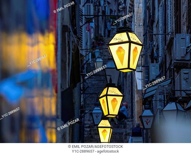 Old town Dubrovnik in Croatia street lamps
