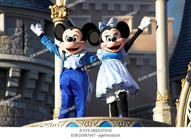 Walt Disney World Resort. Mickey and Minnie Mouse characters on stage in the Magic Kingdom