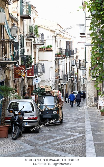 Alley in Cefalu, Sicily, Italy
