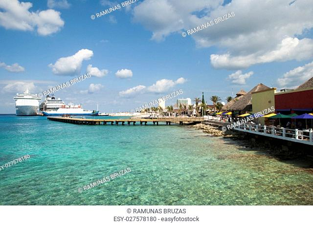 The view of transparent waters near San Miguel town on Cozumel island (Mexico)