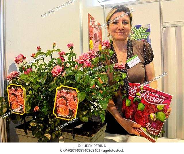 Flora Olomouc horticultural exhibition and fair starts in Olomouc, Czech Republic, on Thursday, August 14, 2014. Vladimira Prouzova of German Kordes company...