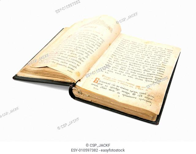 old opened book is christian Psalter over white