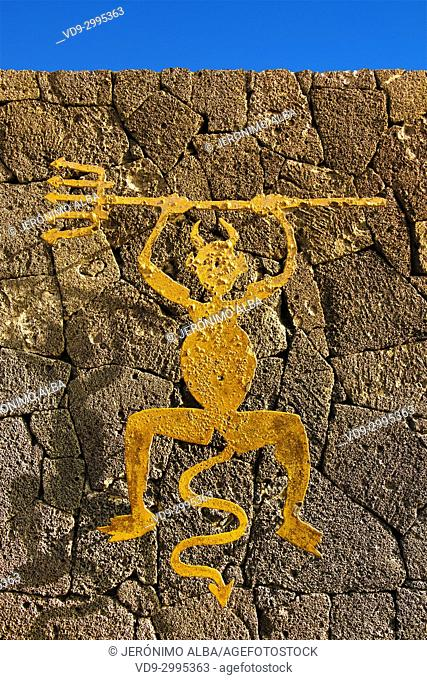 Iconic devil. Timanfaya National Park. Lanzarote Island. Canary Islands Spain. Europe
