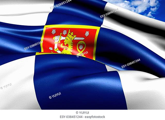 Flag of Finland against cloudy sky. Close up