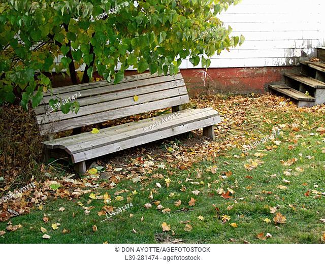 Park bench at Putney school. Putney, Vermont. USA