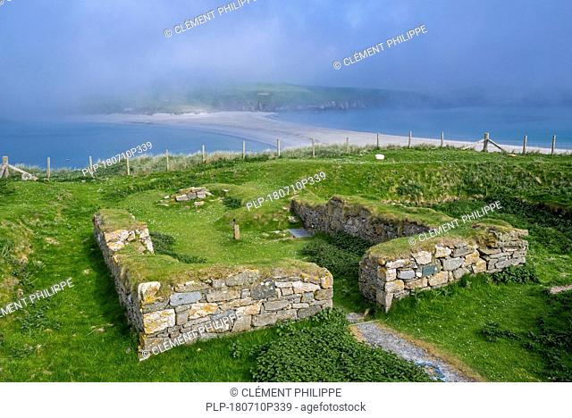 View over 12th-century chapel ruins on St Ninian's Isle and largest tombolo in the UK, Dunrossness, Mainland, Shetland Islands, Scotland, UK