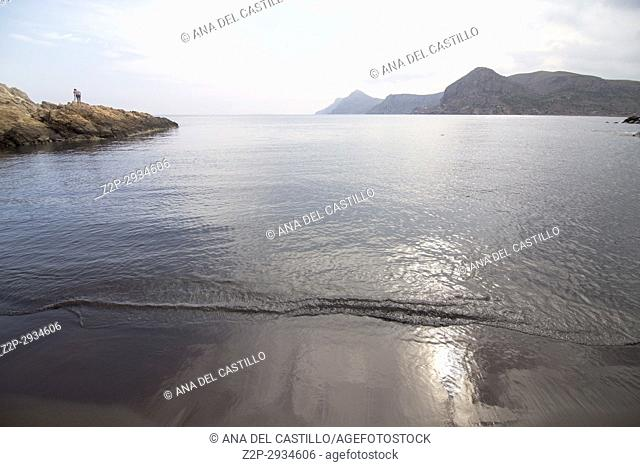 Dark beach in Portman Cartagena Murcia Spain