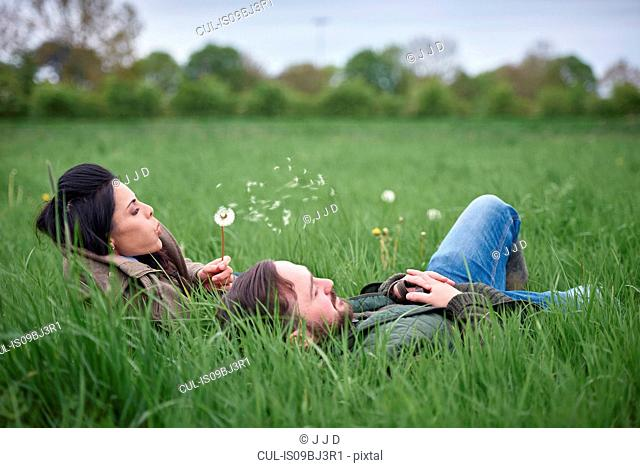 Man and woman lying in field blowing dandelion clock