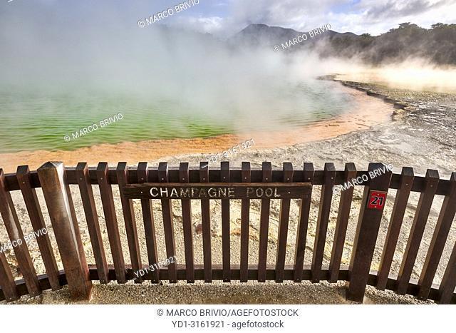 Wai O Tapu geothermal area. Rotorua New Zealand. The Champagne Pool