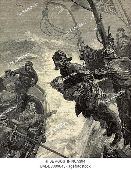 Wreck of the steam boat Clan Macduff in the Irish Sea, engraving from The Illustrated London News, No 2216, November 5, 1881