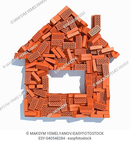 House from bricks isolated on white. Construction concept. 3d illustration