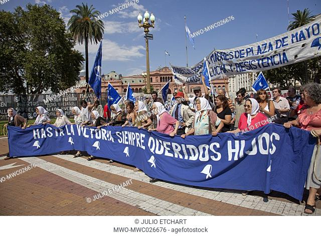 Mothers of Plaza de Mayo during weekly demonstration to establish the fate of their disappeared children and grandchildren during the Dirty War and dictatorship...
