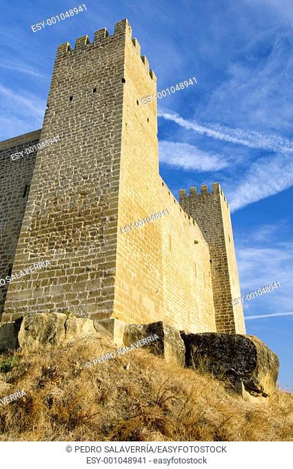 Castle in Sadaba with sky in Saragossa, Spain
