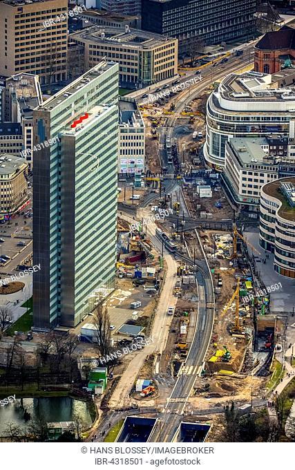 Construction site of the Berliner Allee with Dreischeibenhaus high-rise building, Düsseldorf, Rhineland, North Rhine-Westphalia, Germany