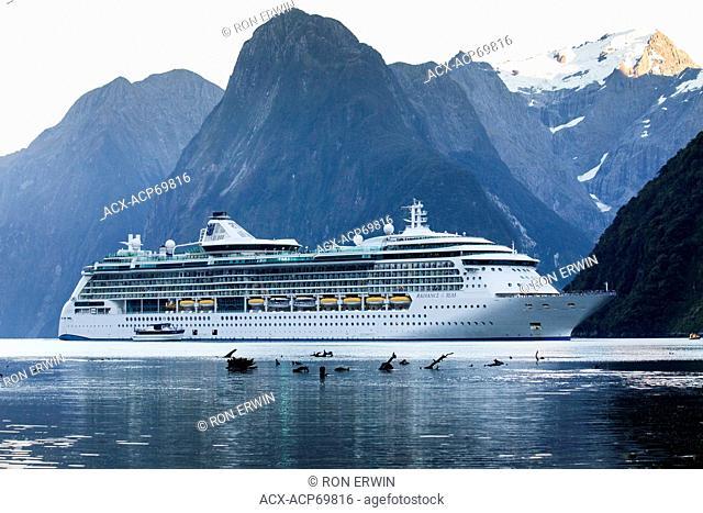 Radiance of the Seas cruiseship on Milford Sound in Fiordland National Park, New Zealand