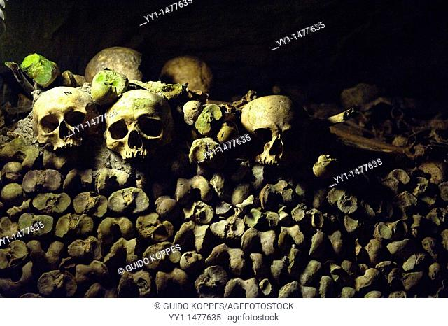 Paris, France. Human remains, buried in the catacombs of the city