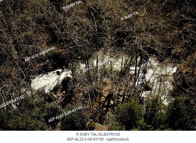 Aerial photograph of the Banias river in the Northern Golan Heights