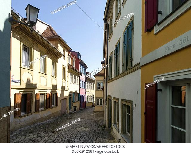 """The medieval houses and alleys in the Old Town. Bamberg in Franconia, a part of Bavaria. The Old Town is listed as UNESCO World Heritage """"""""Altstadt von..."""
