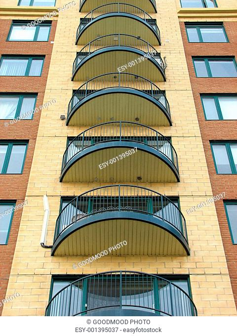 Balconies of a modern highrise condo