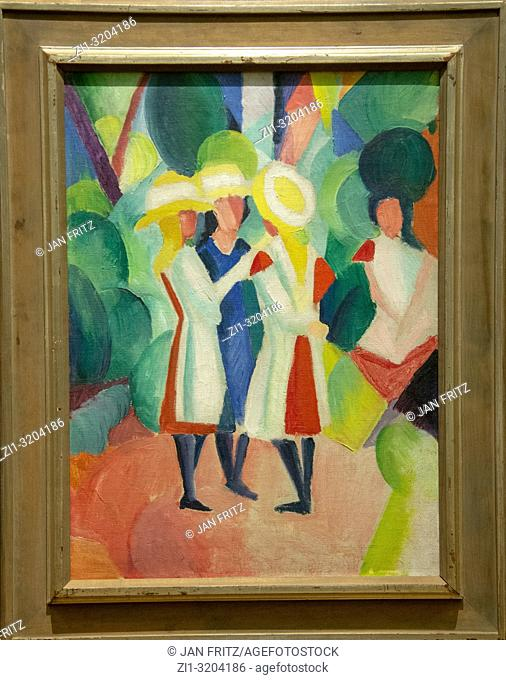 'three girls with yellow straw hats' from August Macke, GEM, Gemeentelijk Museum Den Haag, Netherlands