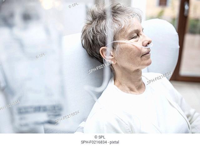 Woman with nasal cannula