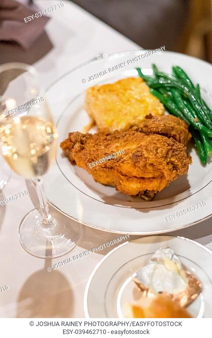 Southern fried chicken plated at this beautiful wedding reception at a California winery in Autumn or Fall