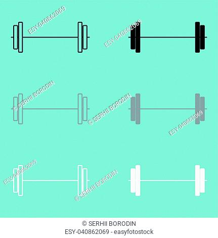 Barbell black grey white icon set