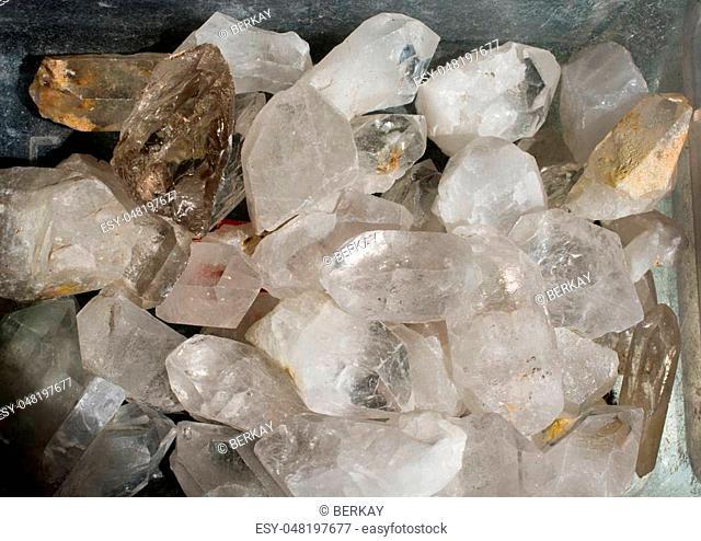 crystal quartz gem stone as natural mineral rock specimen