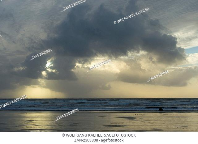 View of Pacific Ocean with clouds from Cannon Beach on the Northern Oregon Coast, USA