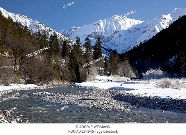 Valley of river Isar, Vorderriss, Karwendel mountains, Tyrol, Austria