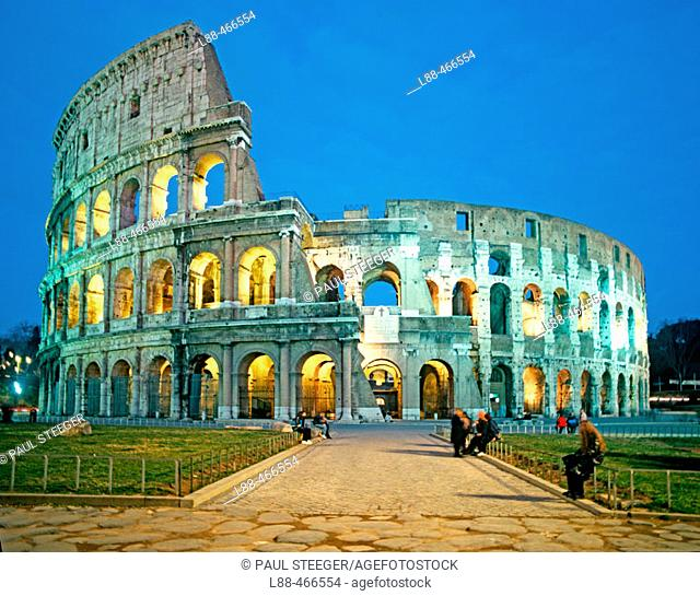 Night view of the Colosseum in Rome. Italy