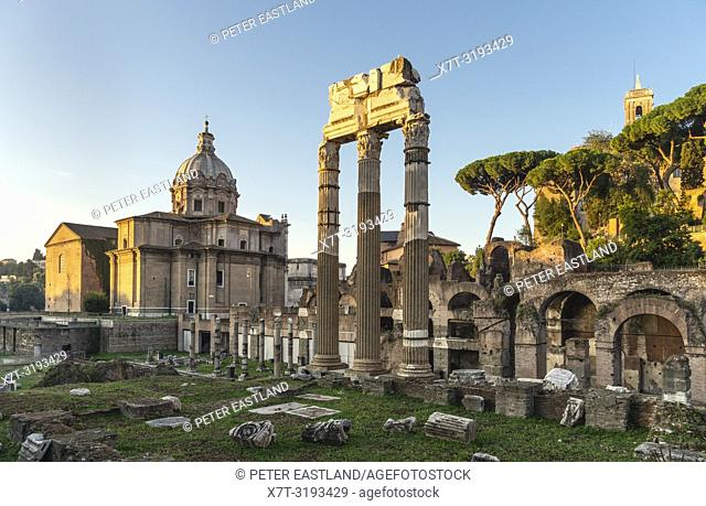 Early morning, looking across The Roman, Forum of Caeser, an extension of the Forum Romanum, with the temple of Venus Genetrix in the foreground, Rome, Italy