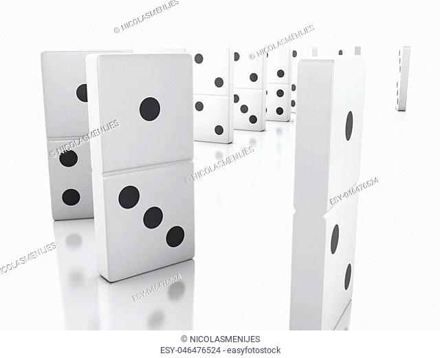 3d illustration. Domino tiles in a row. Business concept. Isolated white background