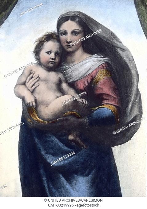 Part of the altarpiece known as the Sistine Madonna by Italian Renaissance painter Raphael also known as Raffaello da Urbino, Raffaello Santi, (1483 - 1520)