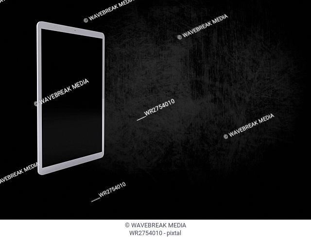 3D tablet against black background