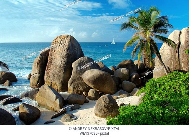 Rocky coast of the Indian Ocean, Mahe island, Seychelles
