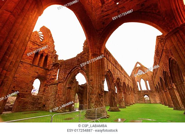 Sweetheart Abbey, ruined Cistercian monastery near to the Nith in south-west Scotland, GB
