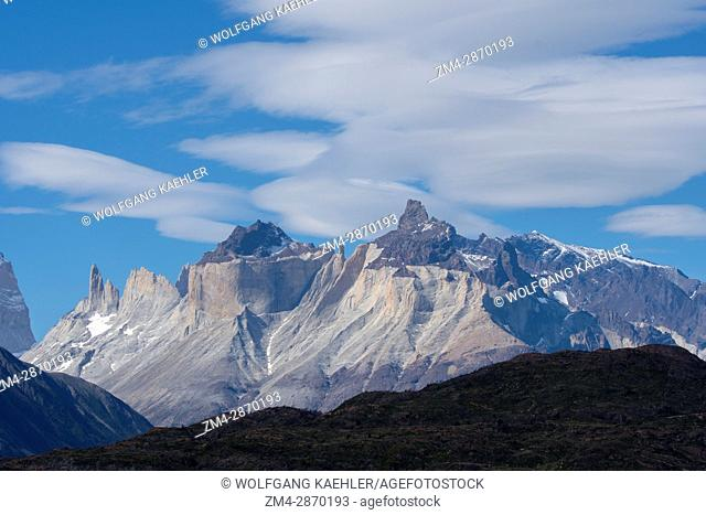 View of Cuernos del Paine Mountains from Grey Lake (Lago Grey) in Torres del Paine National Park in southern Chile