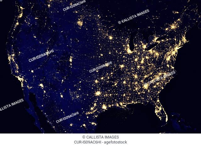 Satellite view of the United States at night