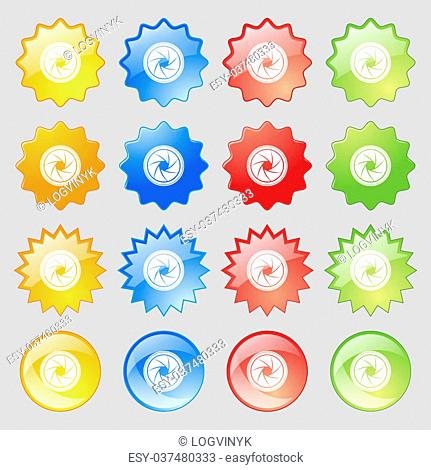 diaphragm icon. Aperture sign. Big set of 16 colorful modern buttons for your design. illustration