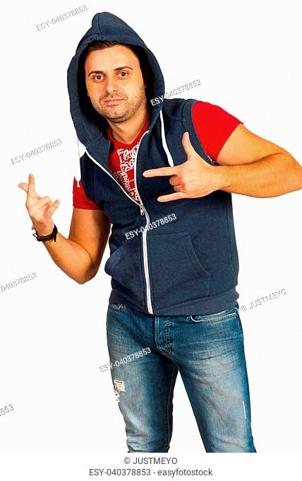 Dancer manin hood gesticulate isolated on white background