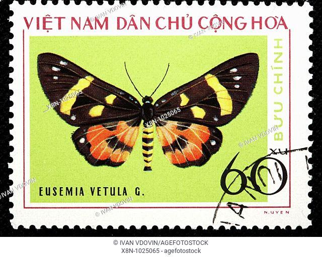 Eusemia vetula, butterfly, postage stamp, Vietnam, 1976