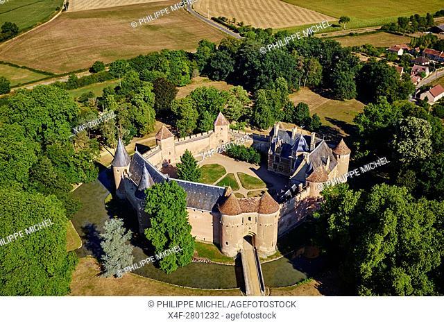 France, Cher (18), Berry, château d'Ainay-le-Vieil castle, aerial view, the Jacques Coeur road