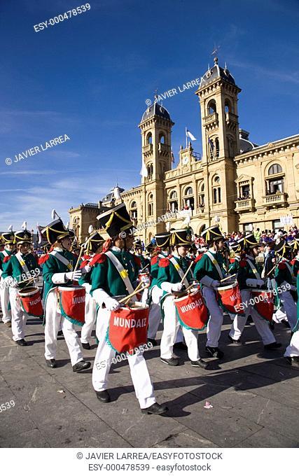 Tamborrada. Basque folklore. Ayuntamiento de San Sebastian. Donostia. Gipuzcoa. Basque Country. Spain