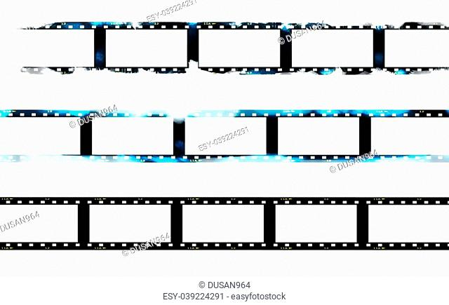 Old blank film strip isolated