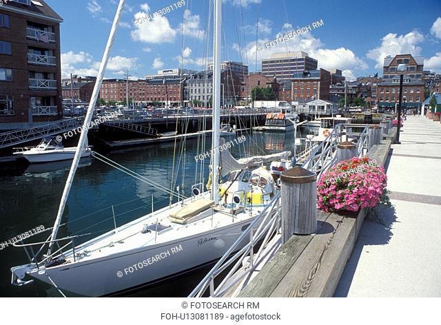 Portland, ME, Maine, Boats docked along the waterfront on Portland Harbor on Casco Bay